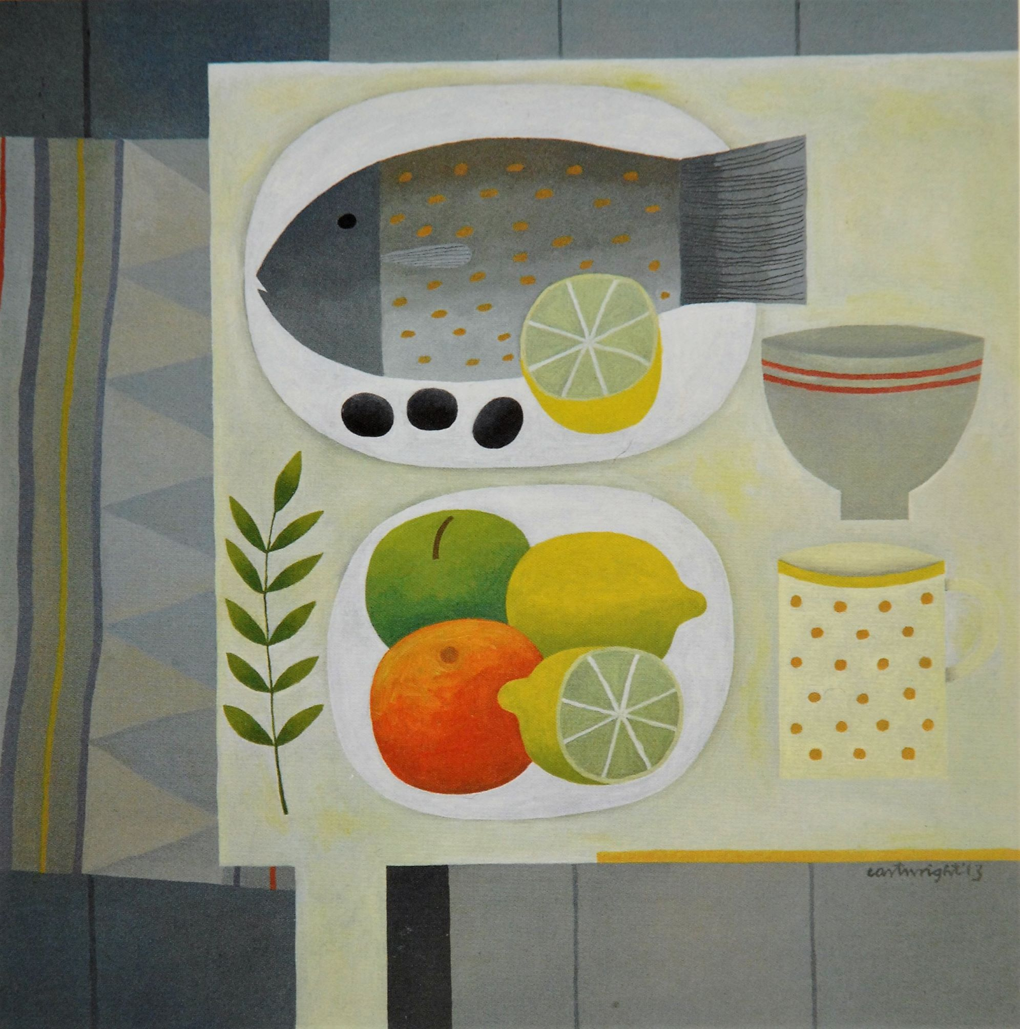 Painting by Reg Cartwright- Still Life with Fish