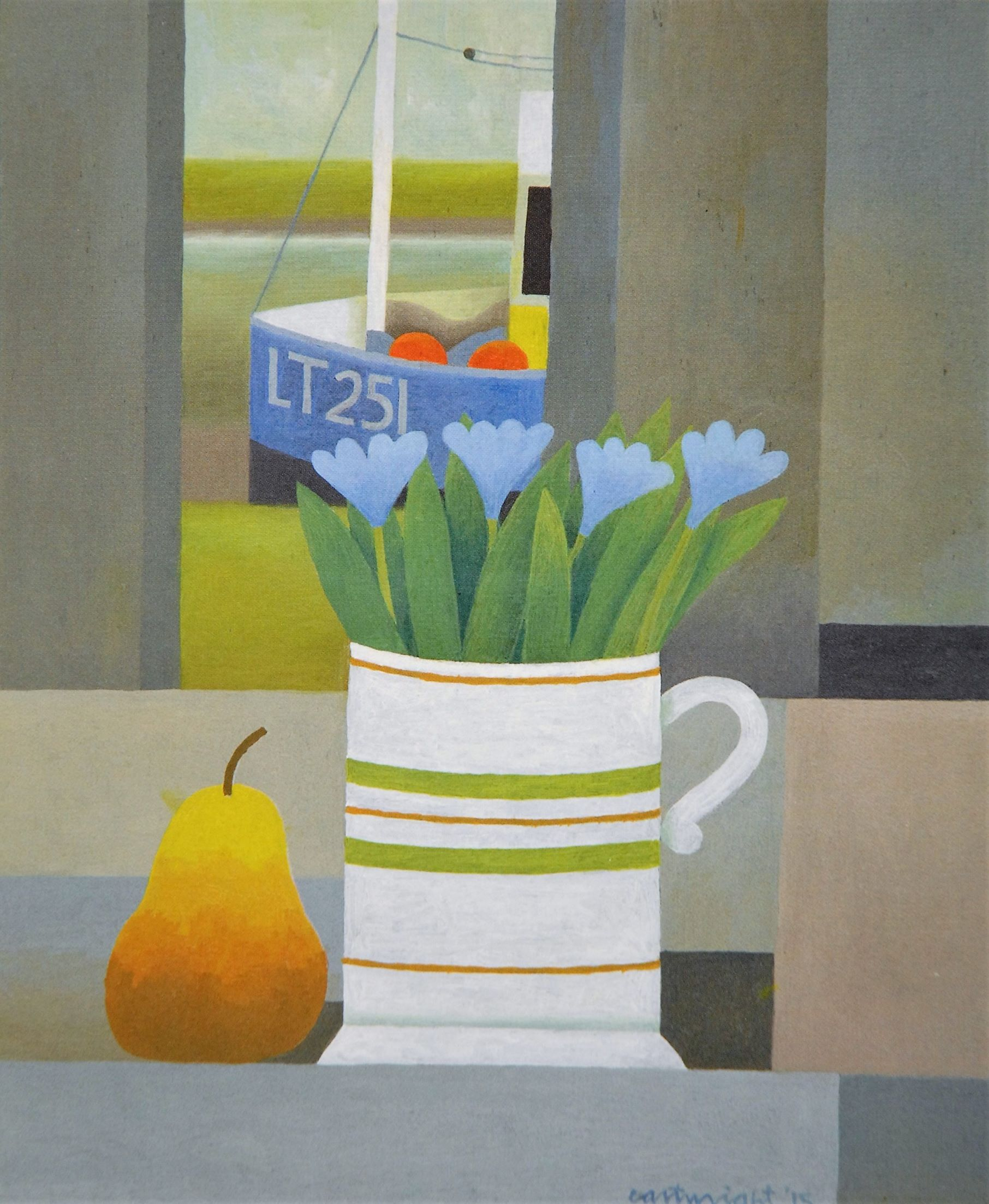Painting by Reg Cartwright- Still Life with Suffolk Estuary