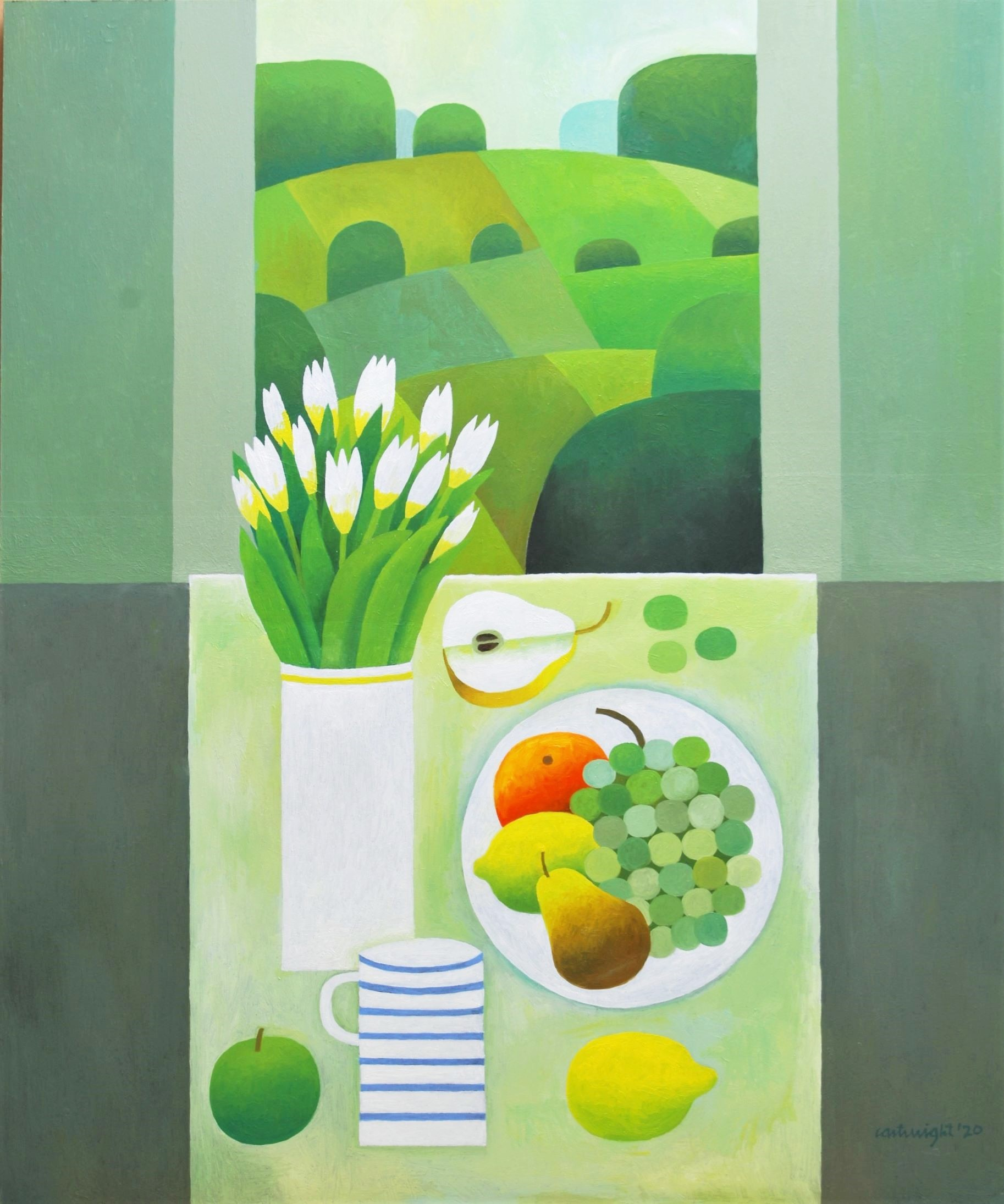 Painting by Reg Cartwright- Still Life with Leicestershire Landscape