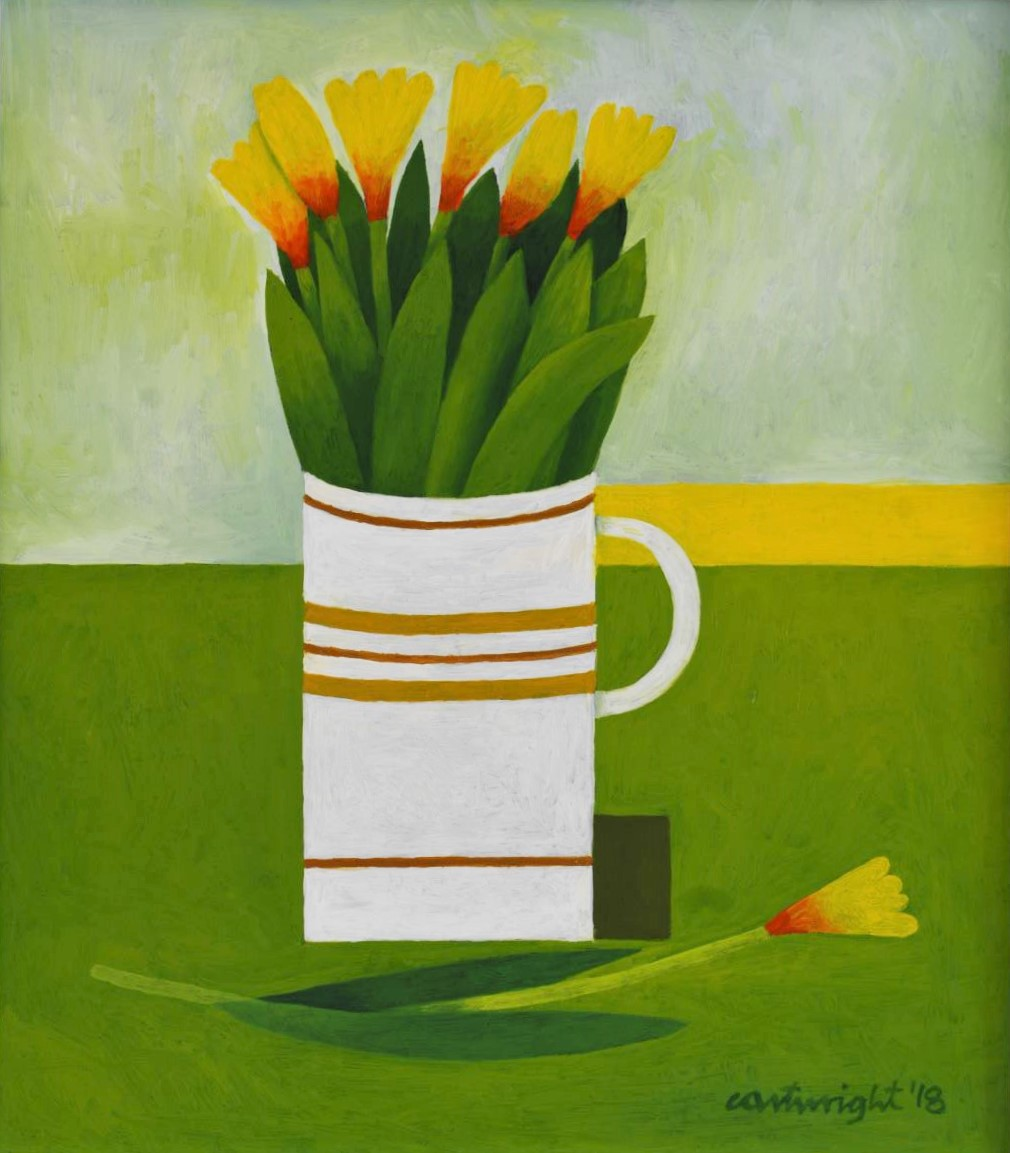 yellow flowers with green stems in a white mug with brown stripes on a green, yellow mottled artistic background.