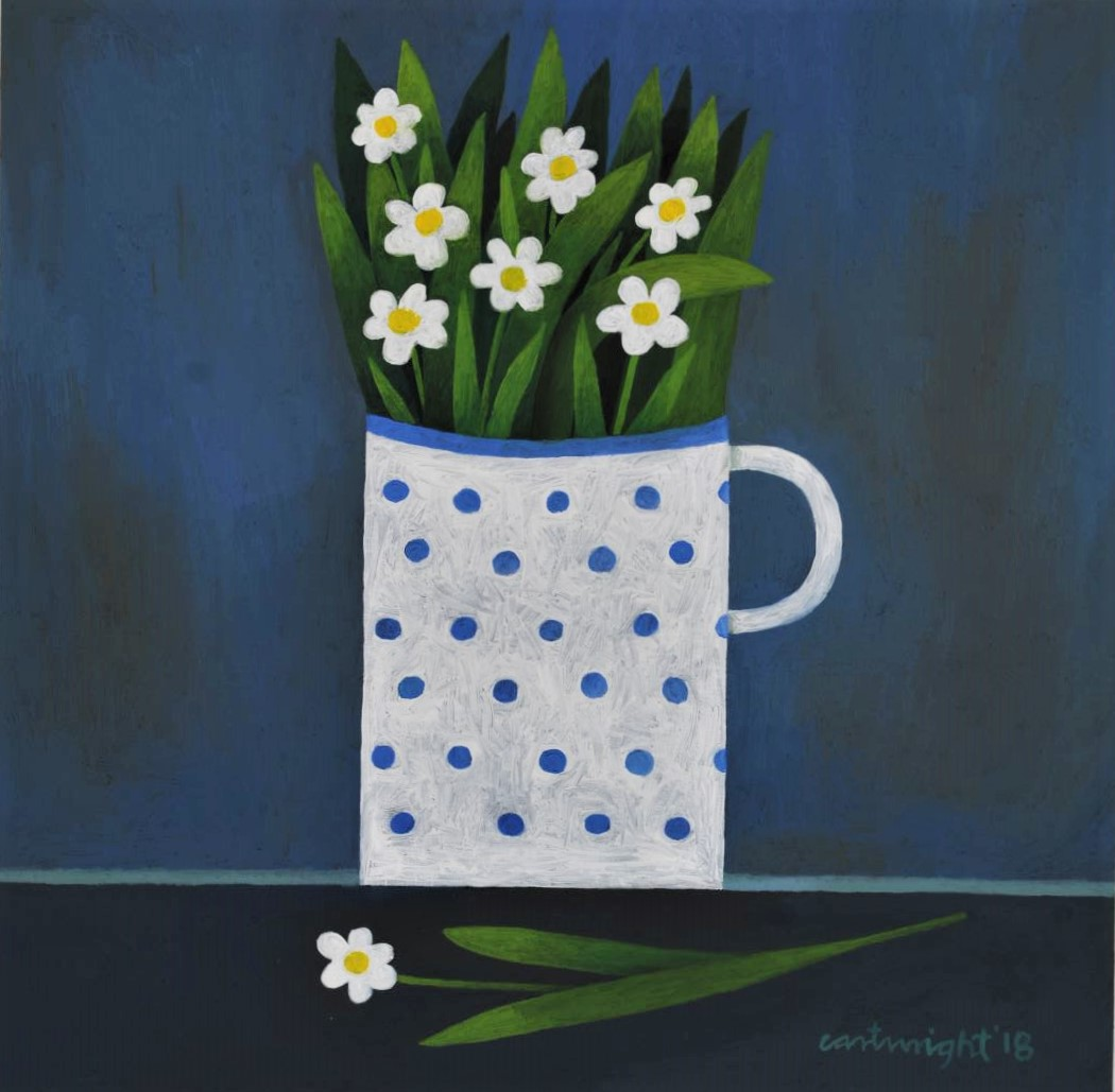 mug of white flowers painted in oils by painter reg cartwright 2018