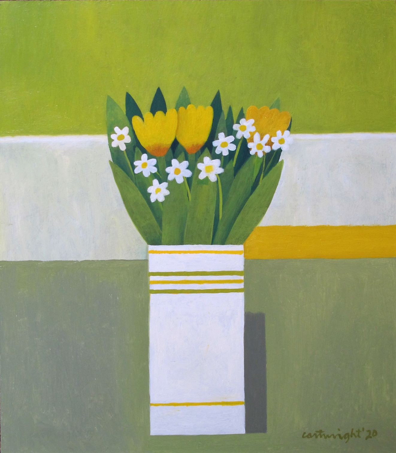 yellow and white flowers in a vase against green white grey yellow backdrop. Painted by Reg Cartwright 2020