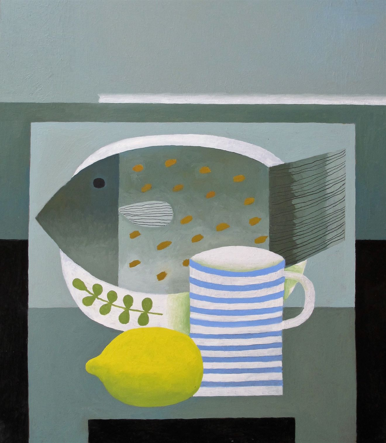 still life painting of fish yellow lemon blue/white striped mug and herbs by reg cartwright 2018