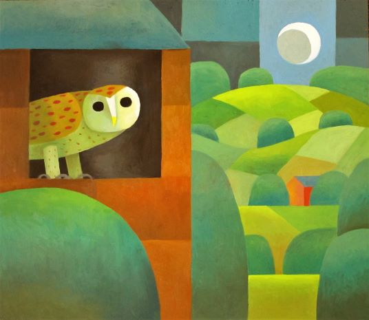 Owl in a Landscape painted by Reg Cartwright 2020