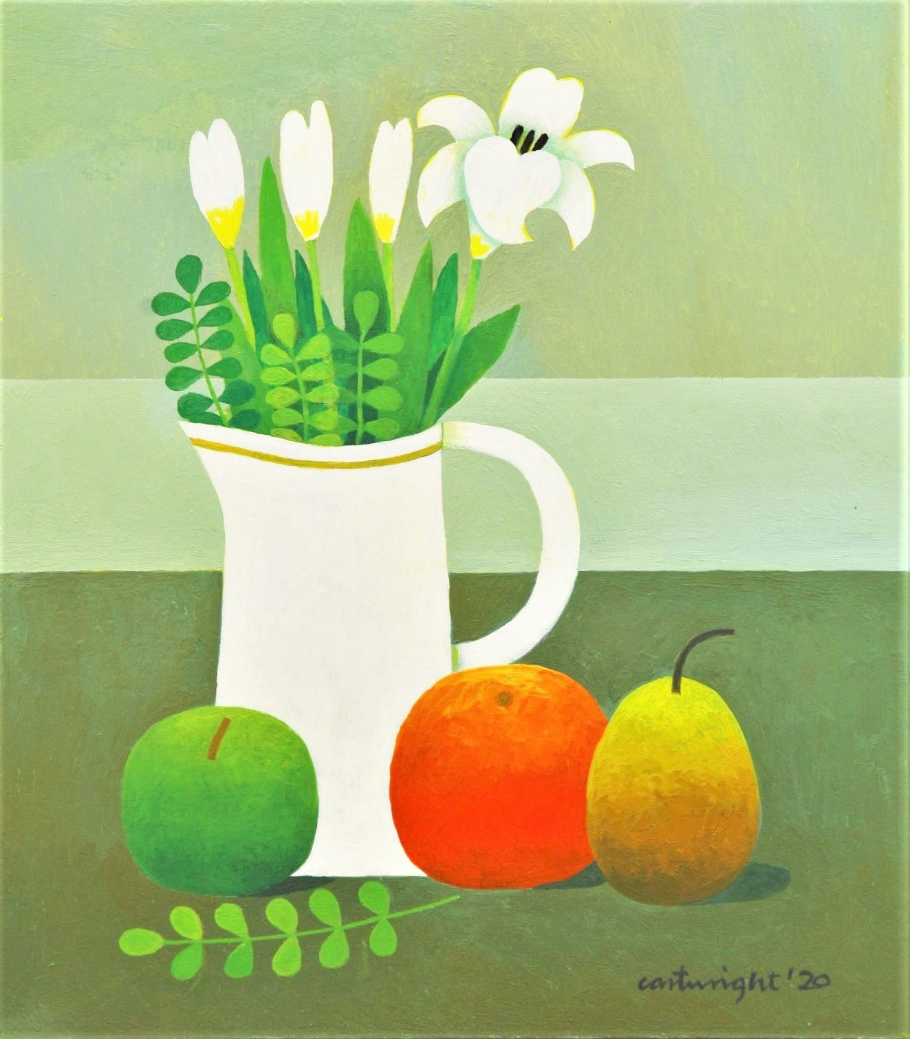 reg cartwright painting of white flowers with fruit