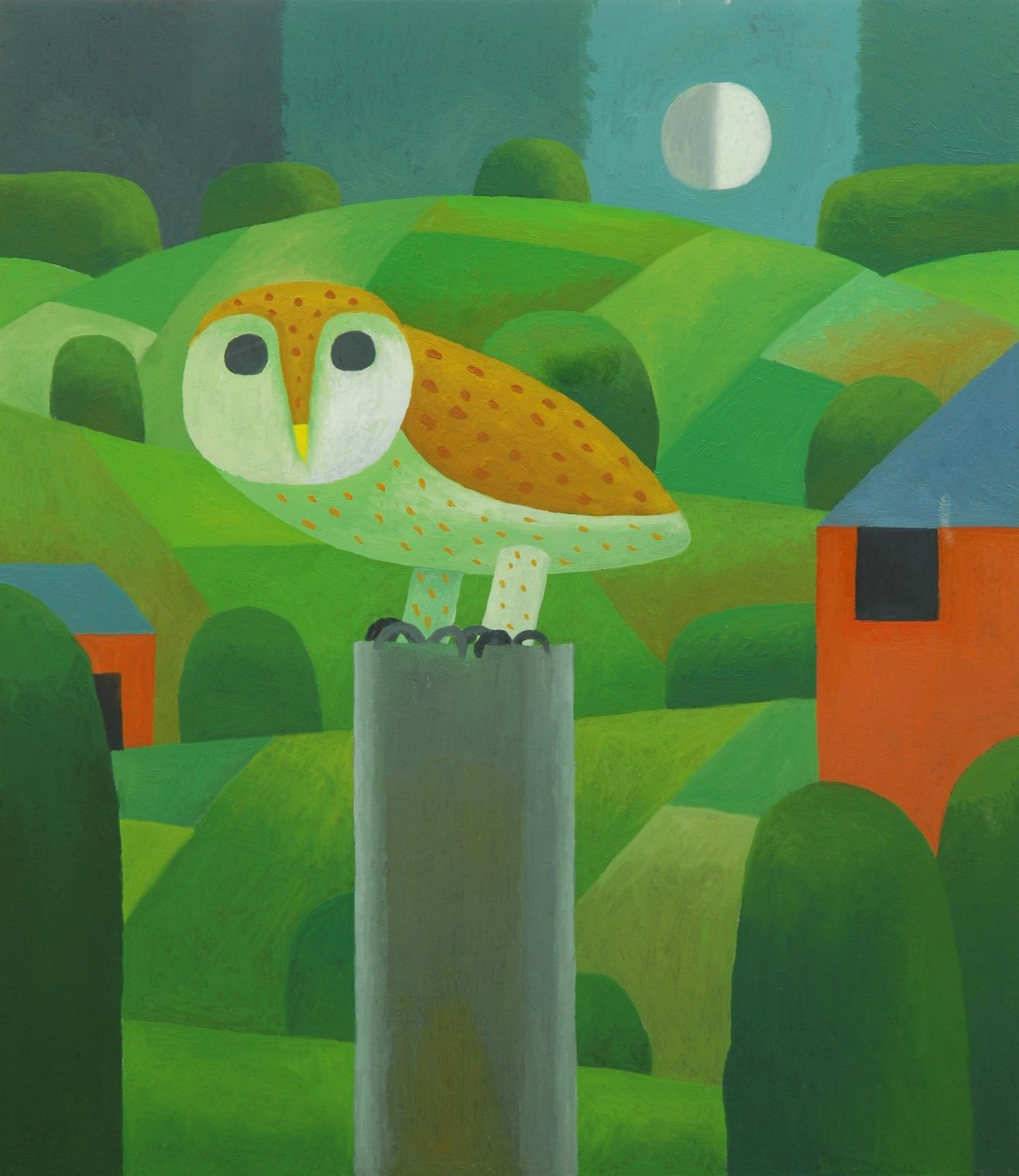 owl in moonlit english landscape with farm buildings